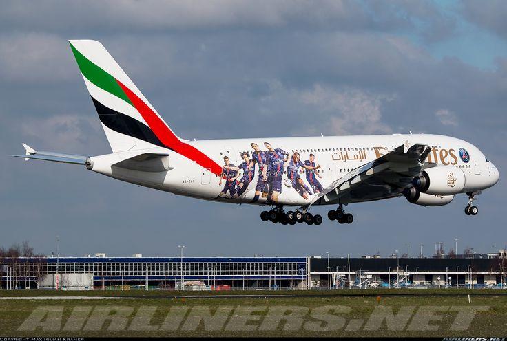 Airbus A380-861, Emirates, A6-EOT, cn 204, 519 passengers, first flight 29.7.2015, Emirates delivered 23.12.2015. 4.6.2016 flight Singapore - Dubai. Foto: Amsterdam, Netherlands, 28.2.2016.