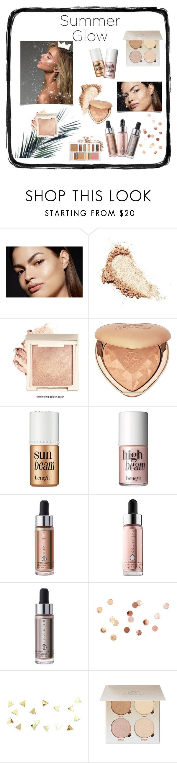 """""""Summer GLOW✨👑"""" by sabellacunningham ❤ liked on Polyvore featuring Anastasia Beverly Hills, Too Faced Cosmetics, Benefit, Cover FX and Umbra"""