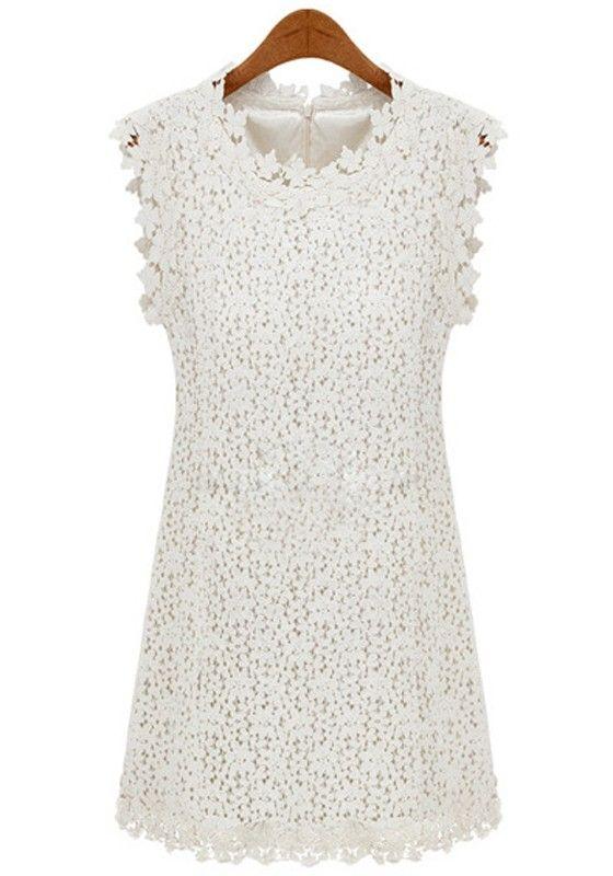 Beige Plain Sleeveless Wrap Lace Mini Dress