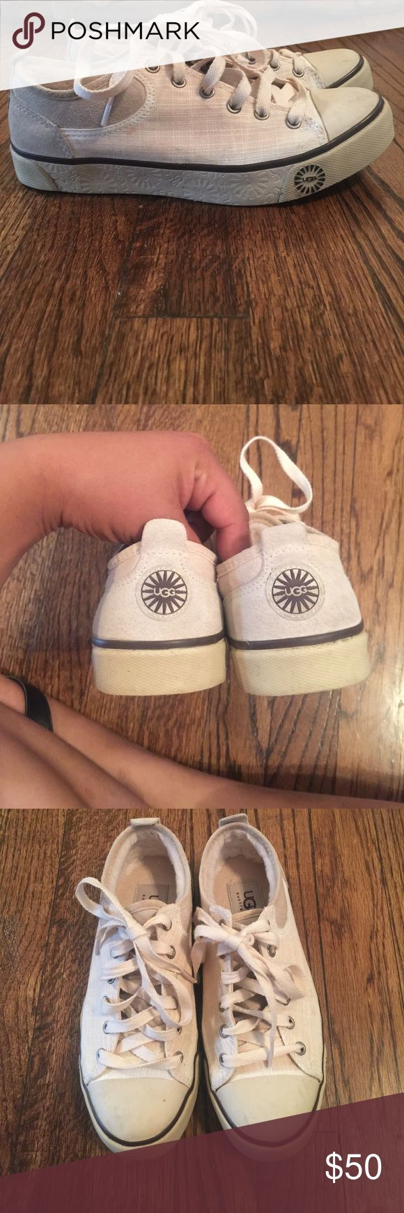 Ugg sneakers in size 5.5 with inner lining These ugg tennis shoes are lined for added warmth and comfort. They are in good used condition. Logo on side bottom and back. UGG Shoes Sneakers