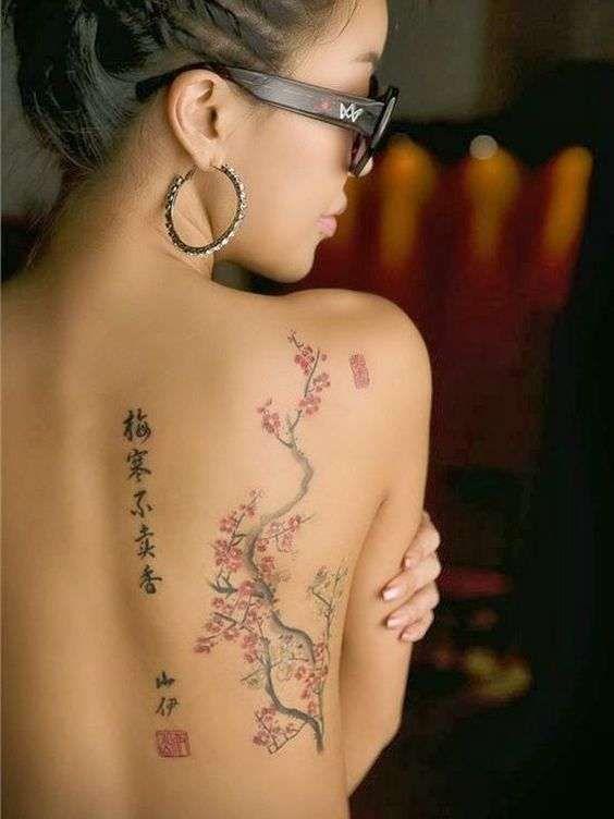 Tatuaggi giapponesi per donne - Fiori di ciliegio con scritta per tattoo spirituale giapponese