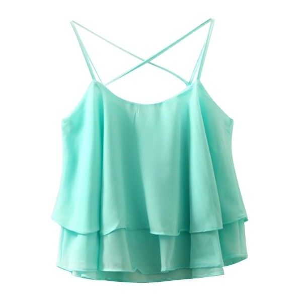 Casual Spaghetti Strap Layered Hem Chiffon Tank Top (£6.34) ❤ liked on Polyvore featuring tops, chiffon layered top, layered tops, blue chiffon top, double layer top and layering tank tops