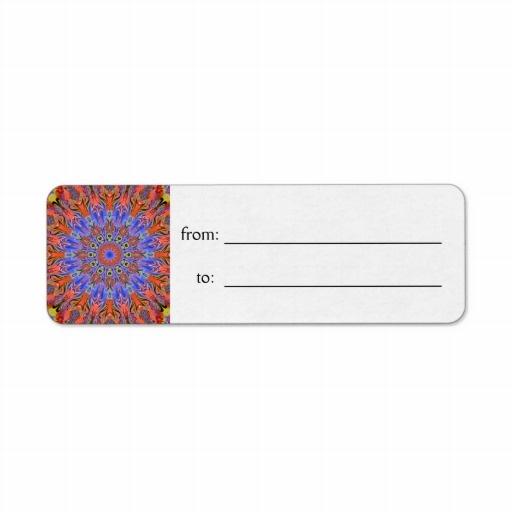 hot summer kaleidoscope gift tag Label