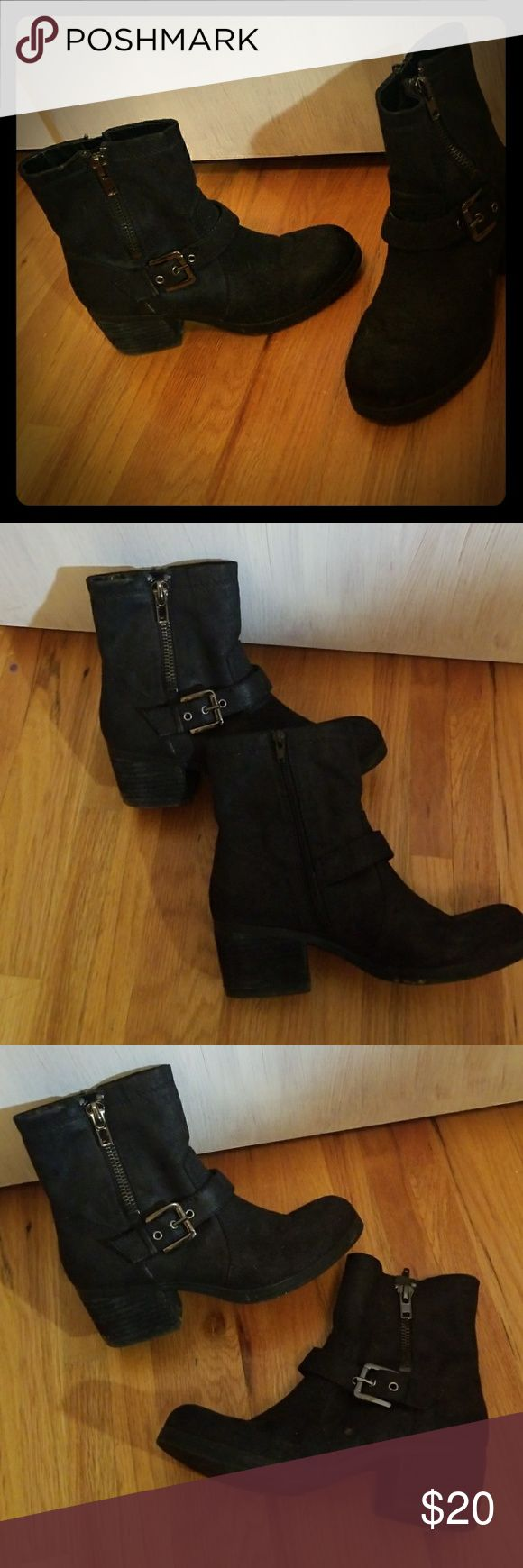 Black heeled boots Lightly used boots, black, soft smooth feel, comfortable for heels, side buckle, thick heels Carlos Santana Shoes Heeled Boots