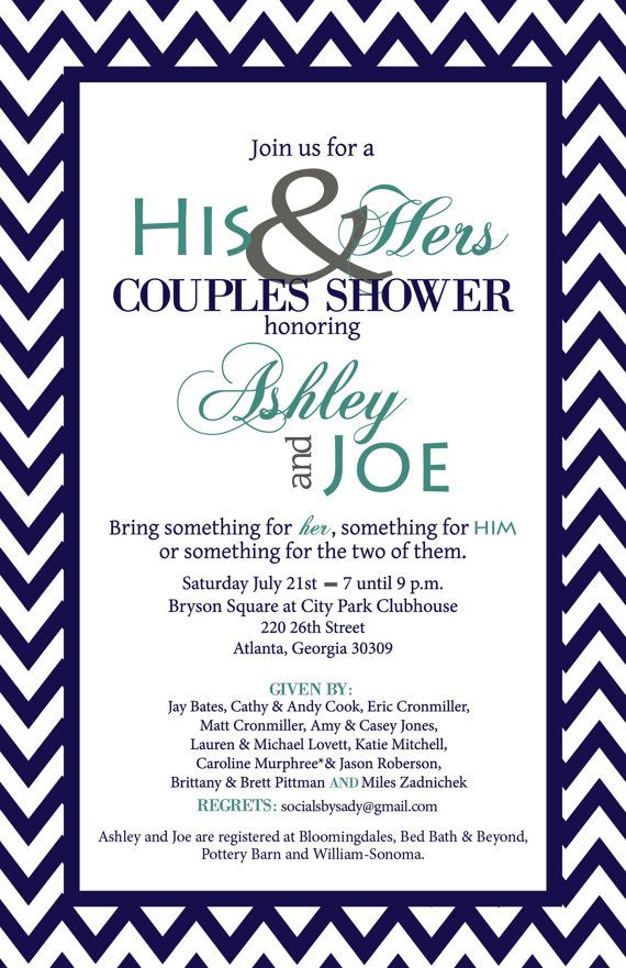 chevron his and her wedding shower by socialsbysady on etsy 1500 - Couple Wedding Shower Invitations