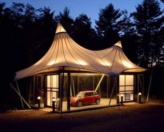 Mini cooper in a circus tent like glass garage car for Garage mini 77