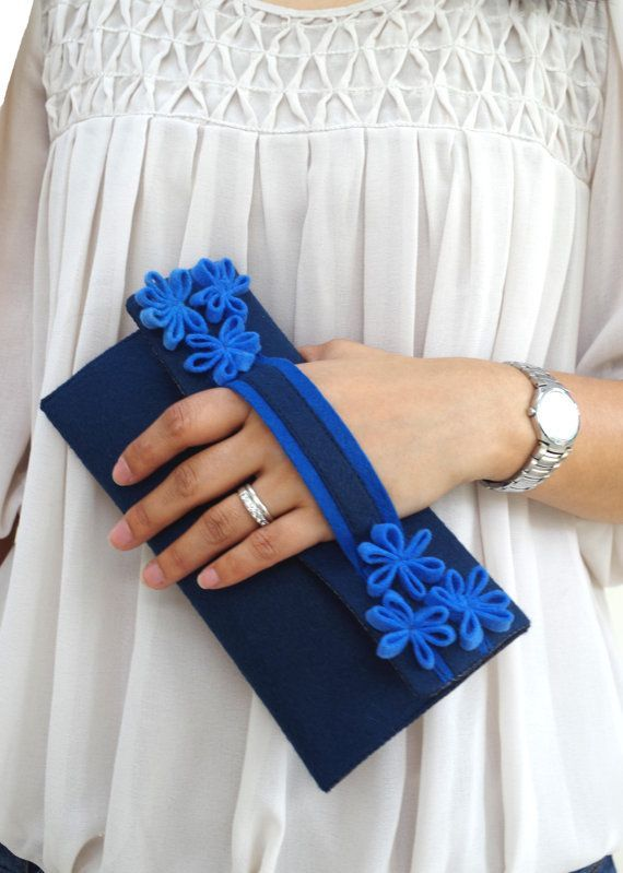 Blue Clutch Purse // Flower Clutch