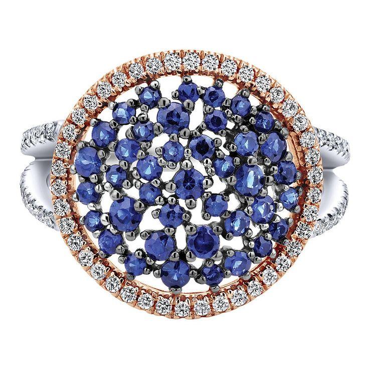 14k White/pink Gold Diamond And Sapphire Fashion Ladies' Ring