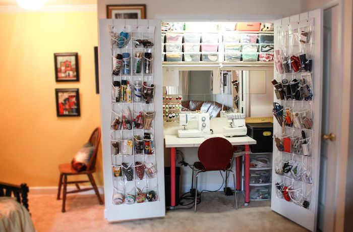 Who needs a sewing room when you have this awesomely organized sewing closet?!
