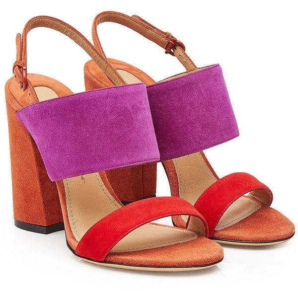 Salvatore Ferragamo Elba Suede Sandals (30.540 RUB) ❤ liked on Polyvore featuring shoes, sandals, multicolored, salvatore ferragamo shoes, ankle strap shoes, multi colored sandals, suede shoes and block heel shoes