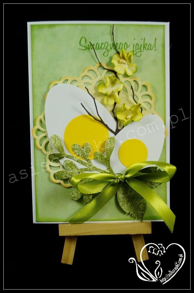Kartka Wielkanocna miętowa #asiscrapki #eastercards