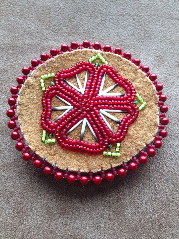 Red Flower with porcupine quills barrette by Alaska Beadwork.