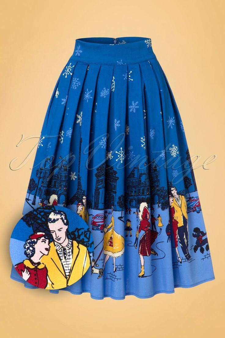 De romantiek komt tot leven wanneer jij deze50s Romance Lives Swing Skirt draagt!Lange winterwandelingen met Cesar, schaatsen op het ijs, de sneeuwt die valt en dat alles in Parijs... romantischer dan dit wordt het niet! Deze prachtige geplooide semi-swing rok wordt hoog in de taille gedragen en zal jou laten dansen van vreugde in de sneeuw. Uitgevoerd in een stevige doch soepel vallende katoenmix met een lichte stretch en een geweldige all-over vintage print. Snow... uhhh... love is in...
