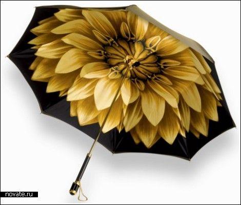 Антидепрессивный зонт  Дождь, начавшийся даже посреди приятного солнечного денька, может сильно испортить ваше настроение. А что уж говорить о череде дождей, которые не прекращаются неделю, и о свинцовых тучах, надолго затянувших небо? В такие серые дни хоть немного поднять настроение поможет антидепрессивный зонт от компании Aspinal of London.    Зонты, зонтики, дизайн, лотос, дождь, креатив