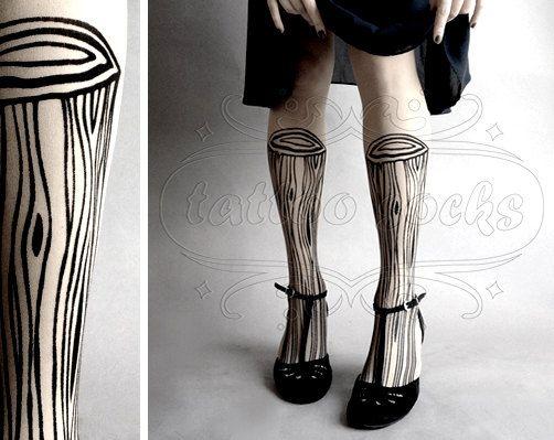 Wooden Legs TATTOO gorgeous thigh-high stockings White. $21.00, via Etsy.