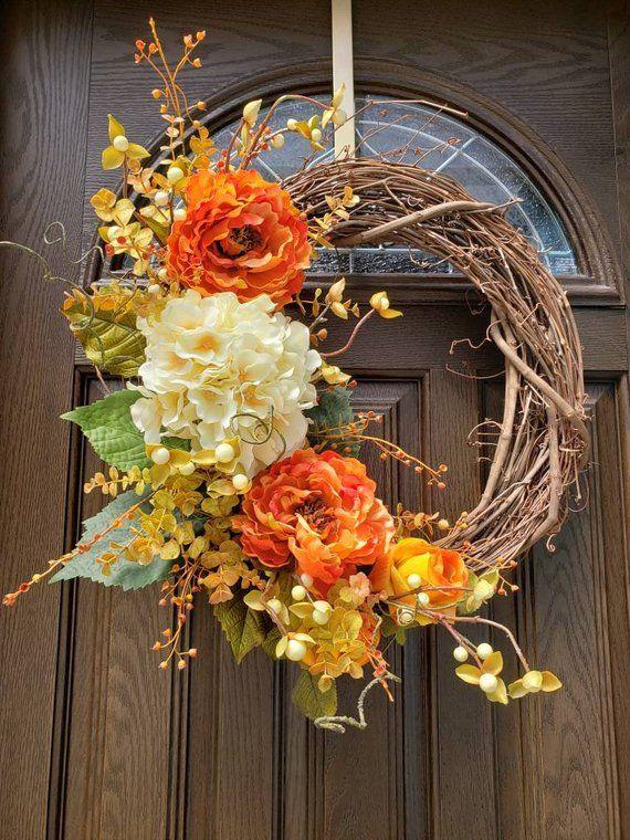 Fall Wreaths for Front Door Wreaths Outdoor Wreath Pink Fall Wreath Autumn Wreath Door Hanger Fall D
