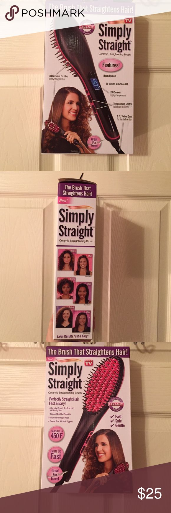 Memorial Day Weekend Sale Straight Brush As Seen On TV Simply Straight. The Brush That Straightens Hair! Ceramic Straightening Brush. Used once or twice. Additional pics of product available upon request. As Seen On TV Accessories Hair Accessories