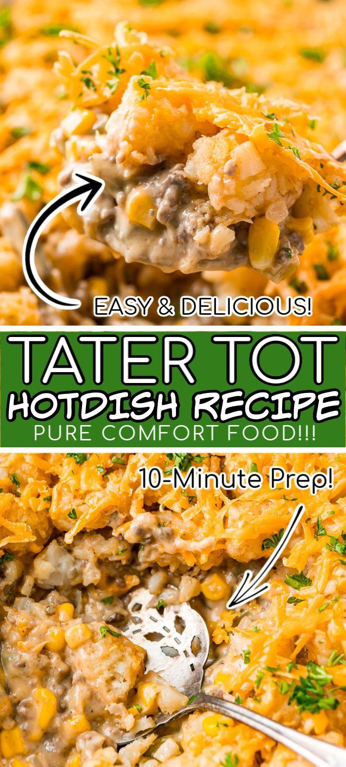 Tater Tot Hotdish In 2020 Tater Tot Hotdish Turkey Sausage Recipes Ground Beef Casserole