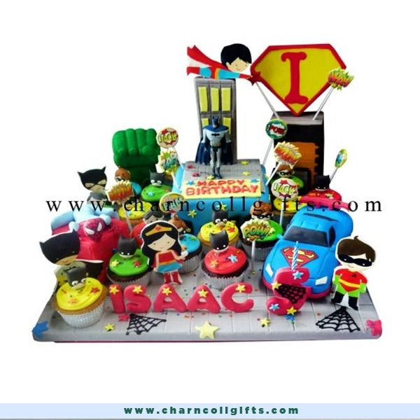 A great surprise for those who love superheroes! An 16 cm chocolate cake on a 60 cm icing base cake, complete with some superheroes action figures and icing buildings decorations. Order now : www.charncollgifts.com | 021-7197234 #Birthday #BirthdayCake #Cake #SuperHero #Heroes #Favorite #Fresh