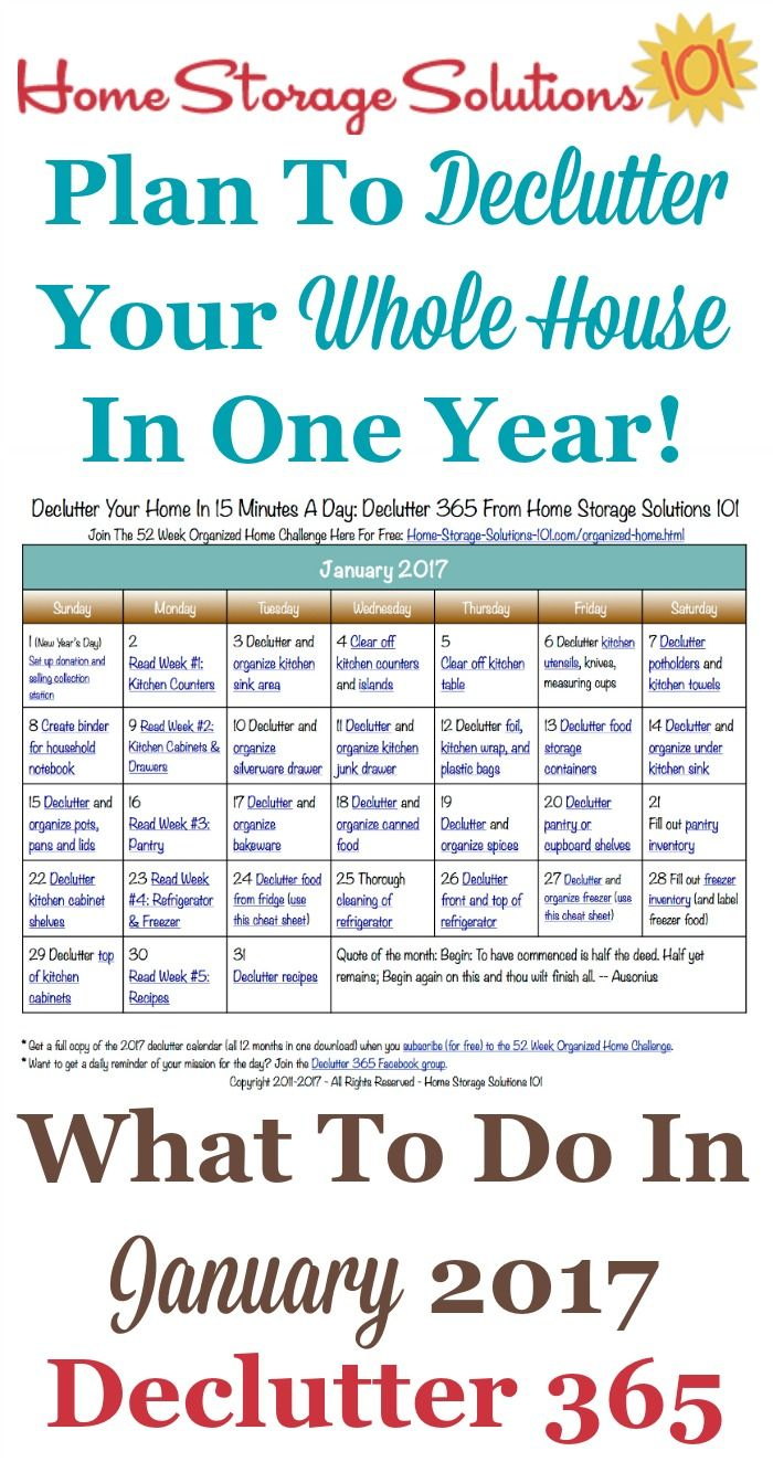 Free printable January 2017 decluttering calendar with daily 15 minute missions. Follow the entire Declutter 365 plan provided by Home Storage Solutions 101 to declutter your whole house in a year.