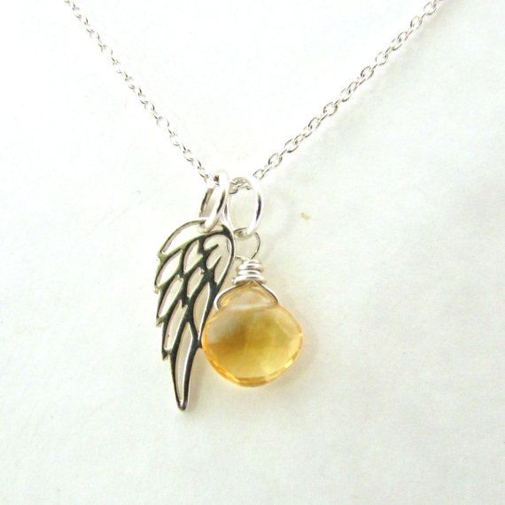 Guardian angel necklace citrine pendant with by FelisaJewelry