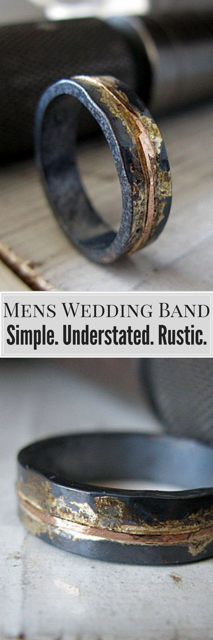 This design is an edgy wedding band or chic fashion ring - for man or woman!   Mens Wedding Band Mens  Wedding Ring Oxidized Ring Black Gold Ring Rustic Ring Unique Wedding  Band Viking Wedding Ring Mens Wedding Bands Wedding Ideas #weddingrings #ad #weddingideas #menweddingrings #goldweddingring #DiamondWeddingRingsforMen