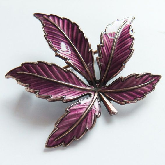 Vintage Bernard Meldahl 925 Silver Purple Guilloche Enamel Maple Leaf Brooch Pin Norway Norwegian Scandinavian