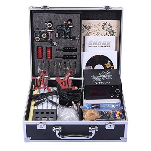 Shark® Professional Tattoo Kit 4 Machines Gun Carry Case With Key Power Supply Needles Grips Tips  FCC Certified Professional tattoo kit, come with professional tattoo carry case. Do not include tattoo ink  High Quality LCD digital tattoo power supply system with 63inch length clip cord wire flexible to use  4 Top quality professional tattoo machines for both shader and liner -10 copper coils. Steady use for a long time  If you have any question about product or tattoo, let us know. We...