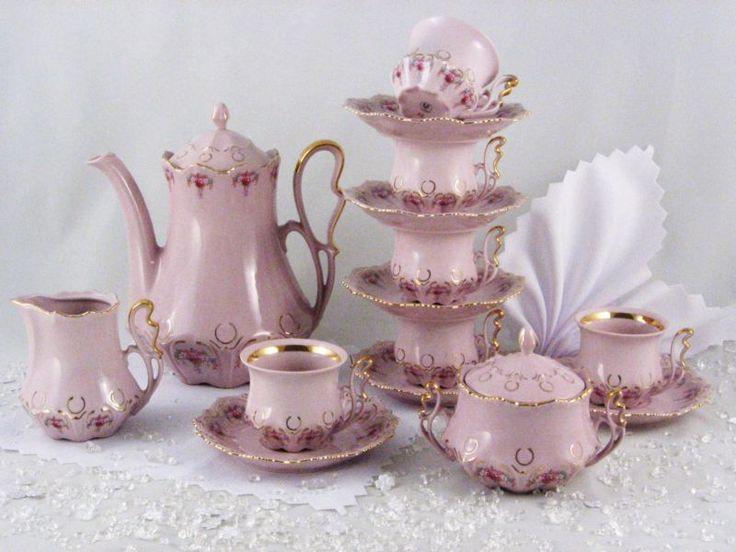 Czech Pink Porcelain Coffee Set & 113 best Bohemian porcelán images on Pinterest | Tea time High tea ...