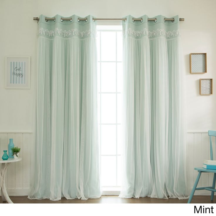 Aurora Home Lace Overlay Blackout Grommet Top Curtain Panel Pair (Mint - 84 inch), Green, Size 52 x 84