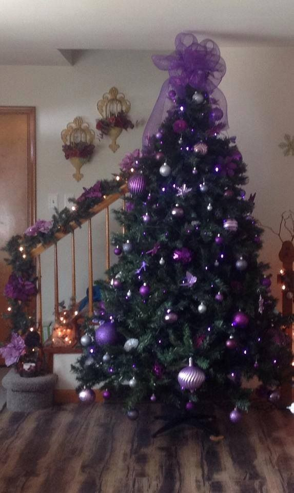 purple christmas tree - Purple And Gold Christmas Tree Decorations