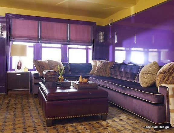 Purple Living Room With Gold Ceiling And Purple Lacquered Walls Framing  Purple Velvet Sectional Sofa Accented With Gold Geometric Pillows Paired  With Purple ...