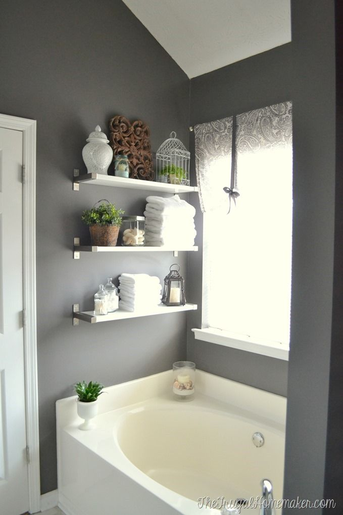 25 best ideas about grey bathroom decor on pinterest - Floating shelf ideas for bathroom ...
