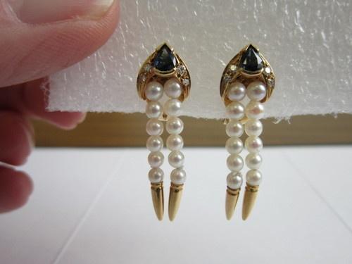 Vintage 80's 18K YG Pearl Sapphire Diamond Earrings and Enhancer Set | eBay