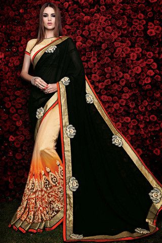 Black Orange and Cream Embroidered Party Wear Saree