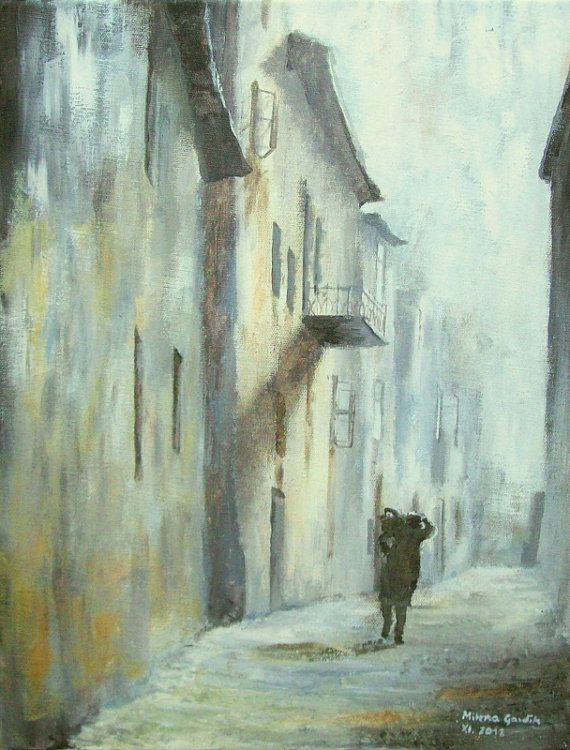 Architecture Painting, Old Alley III - Fine Art GICLEE PRINT after an original painting by Milena Gawlik