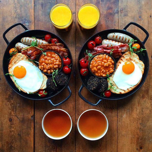"""""""Saturday: The Full English, we may be a strange little island nation, but at least we do breakfast right # Beautiful new pans from @crane_cookware and a cup of perfect RAF blend English Breakfast tea @rareteacompany ---------------------------------- Today is super special, we hit 800 breakfasts! So drop that kale and celebrate with a sausage! Go and pick up today's Telegraph newspaper too! There's a photo of"""