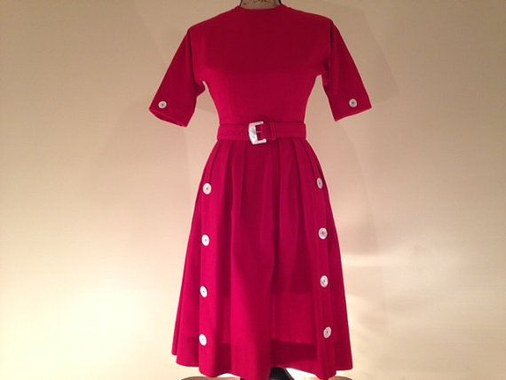 PRESIDENT'S DAY SALE! 1950's Red Wool Neiman Marcus belted Dress by VintageMonReve I have one RED, one White and one BLUE item in my shop in today's one day only sale. Take advantage of these low prices and get your patriotic colors on!