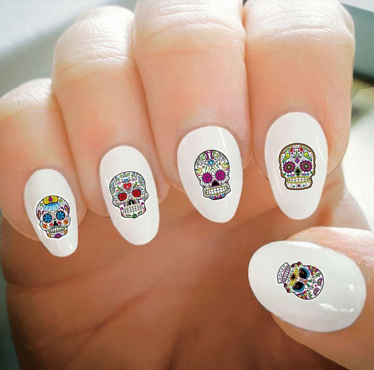 Nail Decals, Sugar Skull Halloween Nail Decals, Water Transfer Nail Decals, Nail Tattoo, Fashionable Nail Art, Custom Nail Decals by ShopRisasPieces on Etsy