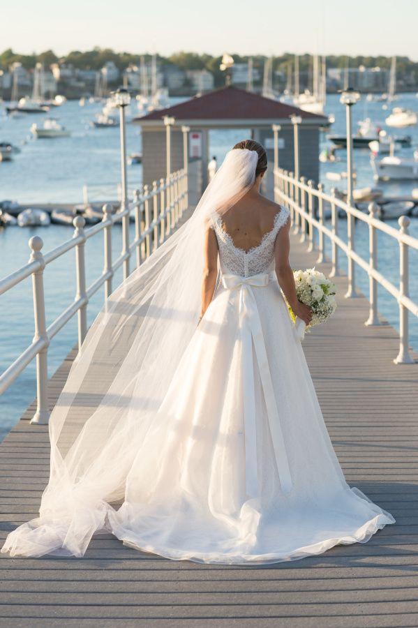 Nautical chic yacht club bride: http://www.stylemepretty.com/massachusetts-weddings/marblehead/2015/11/13/nautical-chic-yacht-club-wedding/ | Photography: Ned Jackson - http://www.nedjackson.com/