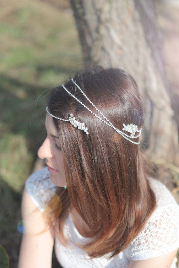Rhinestone hair wrap, wedding crystal headband, triple strand, bridal halo, jeweled hair clip, bride hair jewel, hair chain - ESTELLE