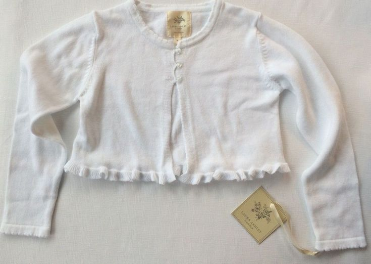 NWT Laura Ashley London Girl's M White Long Sleeve Crop Cardigan Sweater Easter #LauraAshley #Cardigan #DressyHolidayPartyWedding