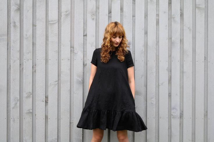 Black Linen Dress Loose Fit Dress Linen Dress With by OffOn