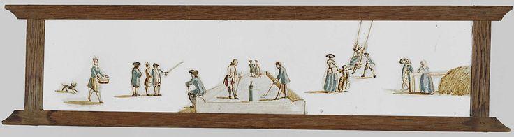 Anonymous | Vermaak in de open lucht, Anonymous, c. 1700 - c. 1800 | Glasplaat in houten vatting. Panorama van mannen en vrouwen die spelen in de open lucht. Links een man en een vrouw, daarnaast wordt een vrouw op een schommel door een man geduwd, terwijl een moeder met haar kind aan het toekijken is. Daar weer naast zijn twee mannen aan het kolven op een kolfbaan. Achterop de baan staan twee mannen te converseren en op de rechterbuitenzijde van de baan zit een man. Daarnaast drie…