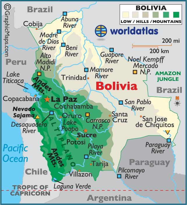 This is a map of Bolivia and some cities are Santa Cruz,Trinidad,and cobija