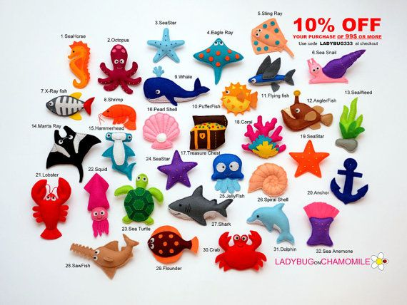 SEA and OCEAN CREATURES felt magnets - Price per 1 item - make your own set - Octopus,Shark,Ray,Crab,Sea star,Pearl,Dolphin,Whale,Sea horse