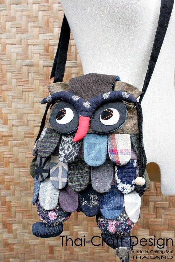 New Owl Bird Animal Patch Work Sling Thai by thaicraftdesign