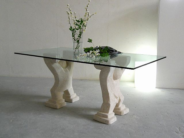 tavolo in cristallo Omini tavolo in cristallo con basamento in pietra scolpita, lavorazione artistica 100% made in Italy