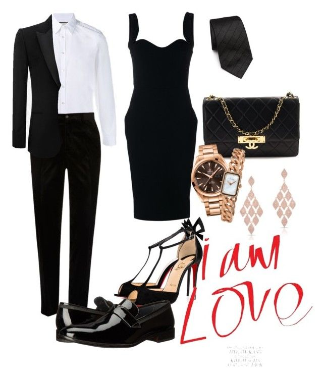 """""""Dress couple formal"""" by pitaa29 on Polyvore featuring Gucci, River Island, Christian Louboutin, Bruno Magli, Victoria Beckham, Armani Collezioni, Alexander McQueen, Chanel, OMEGA and Anne Sisteron"""