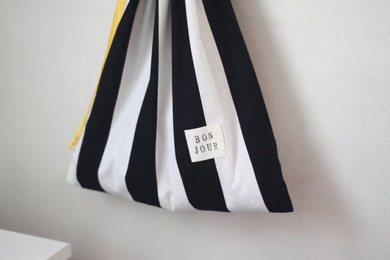 Large Drawstring bag / Stripe / Storage bag Traveling by hyonmade